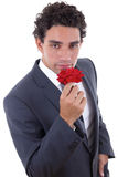 Man seduces with rose Stock Photo