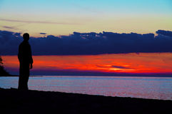 Man see at Crimea sunset Royalty Free Stock Images