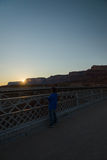 A Man see sunset on the Navajo Bridge in Arizona USA. 1 Stock Photography