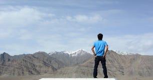 A man seeing mountains Stock Image