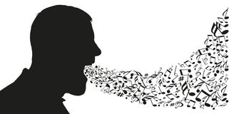 A man seen in profile opens his mouth to let out notes of music royalty free illustration