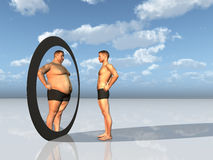 Man sees overweight self in mirror stock illustration