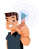 Man select. Man touching a virtual play button Royalty Free Stock Images