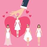 Man select girl as bride, matrimonial match making Stock Image