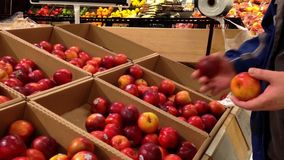 Man selecting plum in grocery store Royalty Free Stock Photography