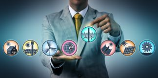 Man Selecting Tidal In Renewable Energy Lineup royalty free stock photography