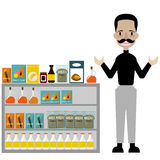 A man seller Snacks in duty free airport vector/ Illustration royalty free stock images