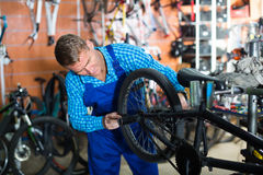 Man seller wearing uniform fixing bike. In sport store Royalty Free Stock Images