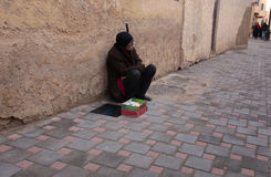 Man sellin drugs and meds in the street of the medina of Fez in Morocco Royalty Free Stock Images