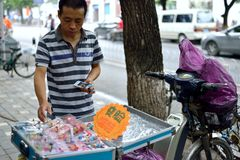 A man selling arts and crafts in the streets of Beijing Royalty Free Stock Photos