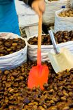 Man selling chestnuts on market. Man selling and loading traditional chestnuts at market place Royalty Free Stock Photography