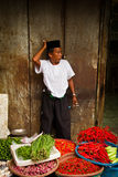Man selling chillies in Jakarta, Indonesia Royalty Free Stock Photo