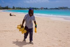Man selling coconuts in Barbados Royalty Free Stock Photography