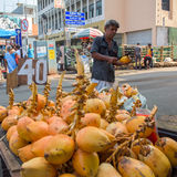 Man selling coconuts on the street in town Royalty Free Stock Photos