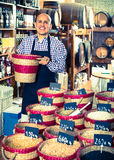 Man selling dried beans Stock Photography