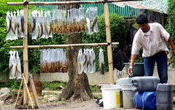 Man selling fish, Indonesia Royalty Free Stock Images