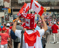 Man Selling Flags on Canada Day Stock Photo