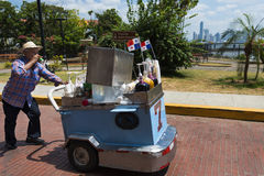Man selling fresh drinks in Casco Viejo, in Panama City, Panama. Stock Image