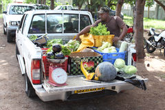 Man selling fresh vegetables from truck Royalty Free Stock Photography