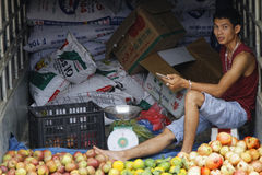 Man selling fruits from his truck Royalty Free Stock Photography