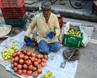 A man selling fruits on street in Varanasi, India Stock Photography