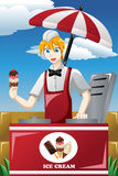 Man selling ice cream. A vector illustration of man selling ice cream in the park Stock Photo