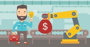 Man selling idea of engineering of robotic hand. Stock Image