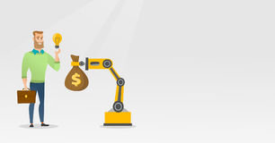 Man selling idea of engineering of robotic hand. Royalty Free Stock Photos