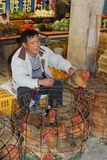 Danger,chickens bring diseases and H5N8 viruses into Asia, Europe and USA. Salesman is selling live chickens at the market near Guilin in China; chickens can Royalty Free Stock Image