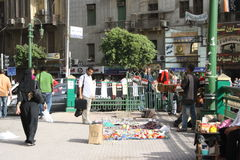 A man selling revolution souvenirs in cairo egypt Stock Images