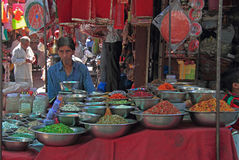 Man is selling something outdoor in Ahmedabad, India stock photo