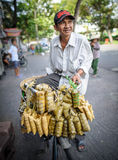Man selling sticky rice from his bicycle,vietnam Royalty Free Stock Photo