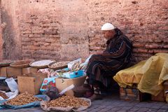 Man selling on street of Marrakech Royalty Free Stock Photos