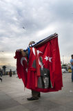 Man selling turkish flags Stock Photo