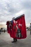 Man selling turkish flags stock photo