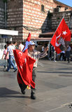 Man selling Turkish flags. Istanbul Stock Photography