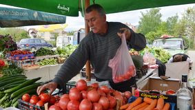 Man selling vegetables at market Stock Image