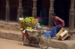 Man sells fruit  in Nepal Stock Photography