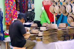 Man Sells Hats and Clothes in Oaxaca Royalty Free Stock Photography