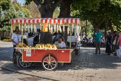 Man sells popular street foods in Istanbul royalty free stock images
