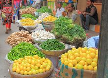 Man sells vegetables in the market of Delhi, India Royalty Free Stock Photos