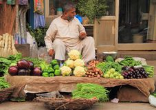 Man sells vegetables in the market of Delhi, India Stock Photo