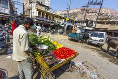 Man sells vegetables at a market in Jodhpur Stock Photo