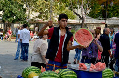 Man sells watermelon Royalty Free Stock Photo