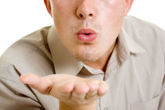 A man sends a air kiss. Stock Photo