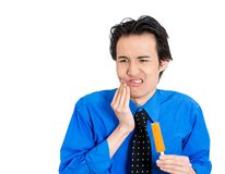 Man with sensitive tooth ache Royalty Free Stock Images