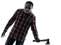 Man serial killer with axe silhouette portrait Royalty Free Stock Photo