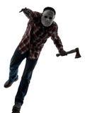 Man serial killer with mask silhouette full length Stock Photos