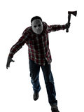 Man serial killer with mask silhouette full length Royalty Free Stock Photo