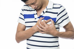 Man serious heart attack Stock Photography